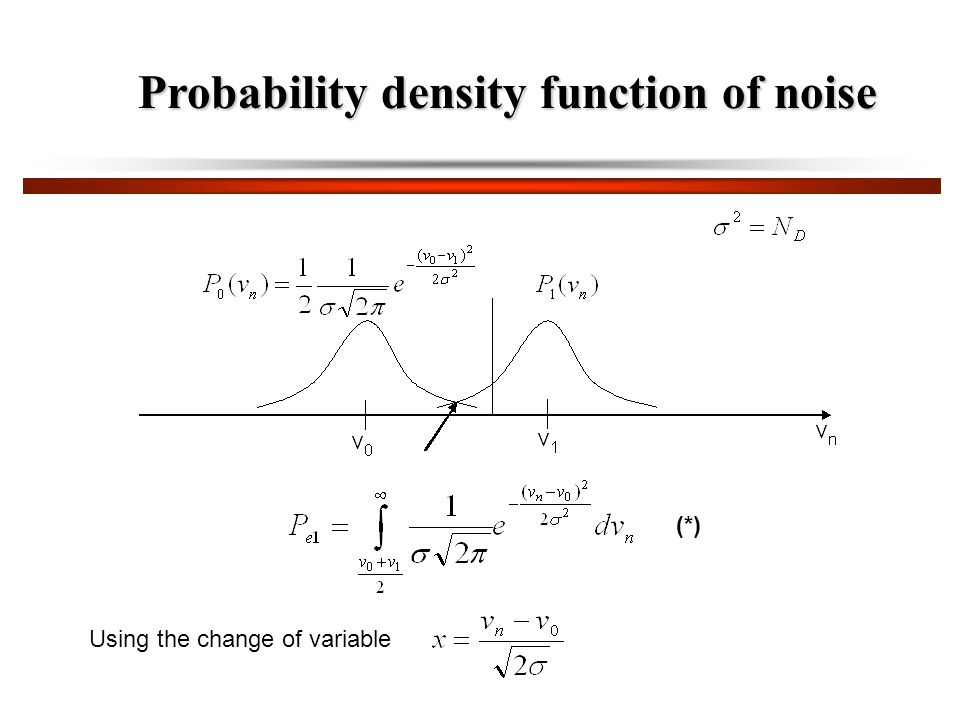 Using the change of variable Probability density function of noise (*)