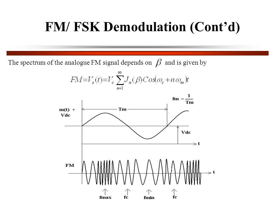 FM/ FSK Demodulation (Cont'd) The spectrum of the analogue FM signal depends on and is given by