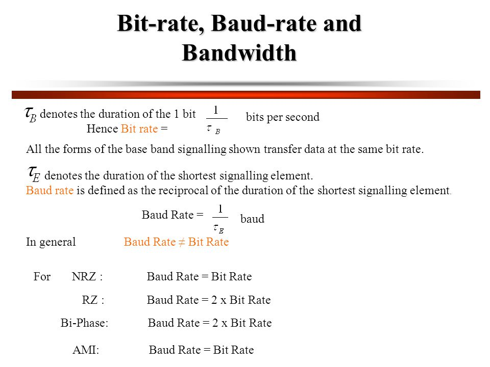 Bit-rate, Baud-rate and Bandwidth denotes the duration of the 1 bit Hence Bit rate = bits per second All the forms of the base band signalling shown transfer data at the same bit rate.