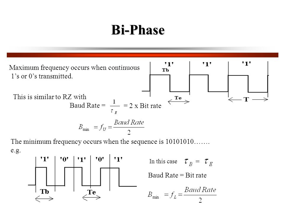 Bi-Phase Maximum frequency occurs when continuous 1's or 0's transmitted.