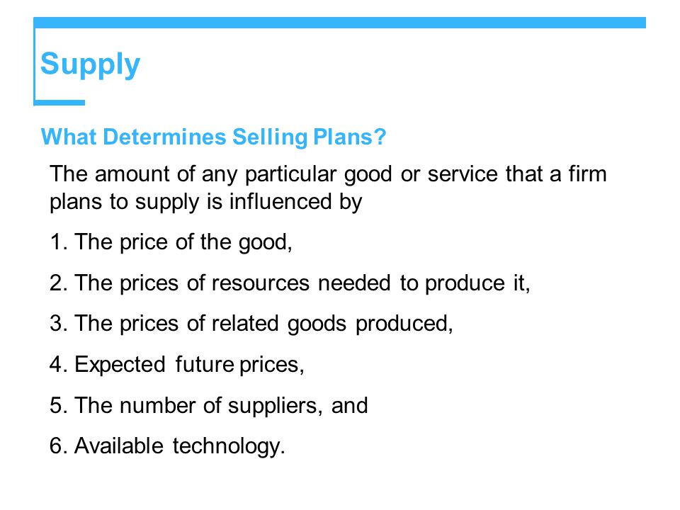 Supply What Determines Selling Plans.