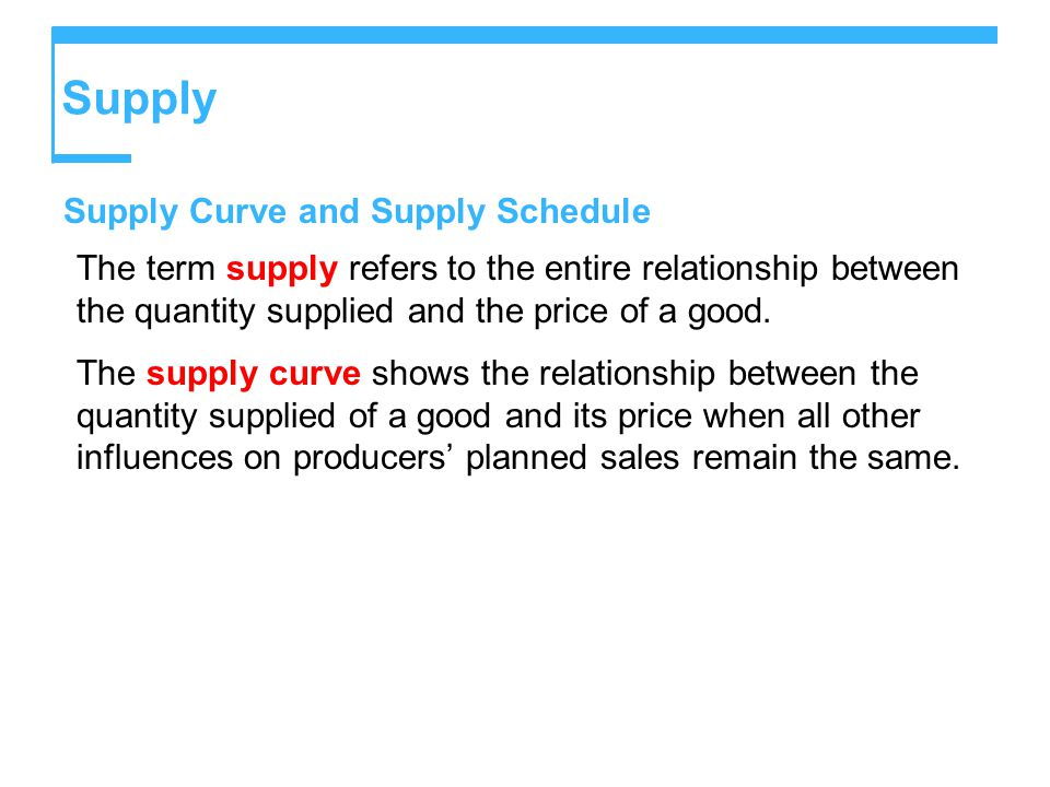 Supply Supply Curve and Supply Schedule The term supply refers to the entire relationship between the quantity supplied and the price of a good.