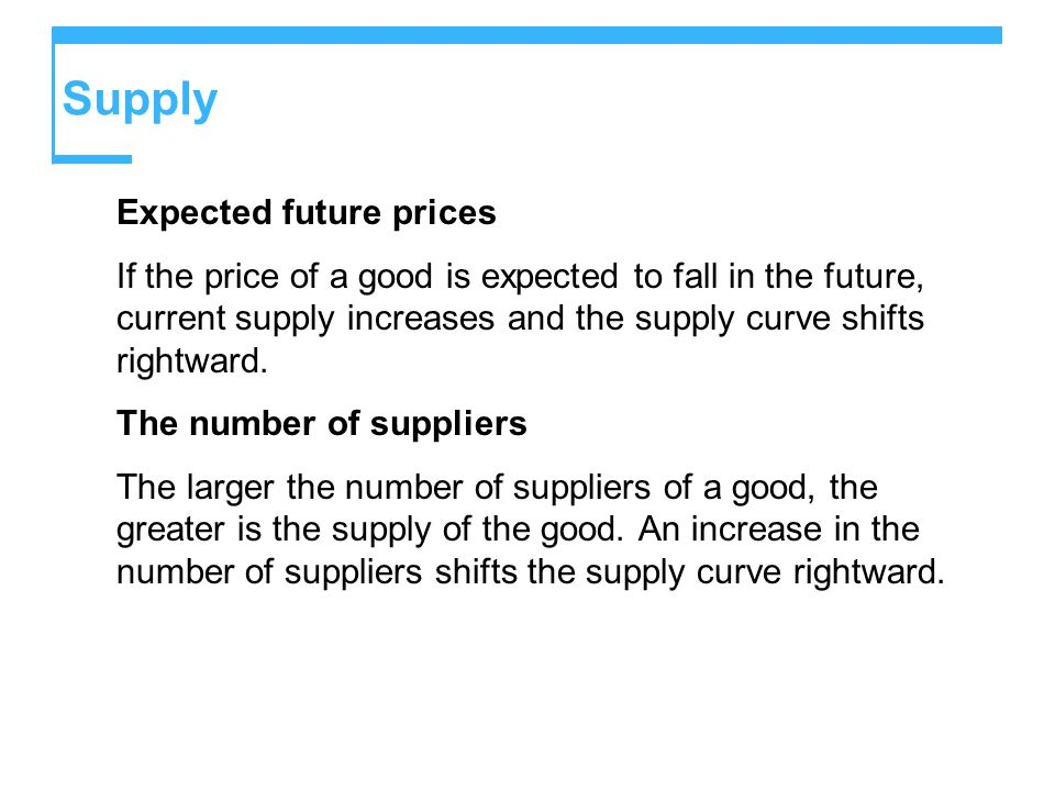 Supply Expected future prices If the price of a good is expected to fall in the future, current supply increases and the supply curve shifts rightward.