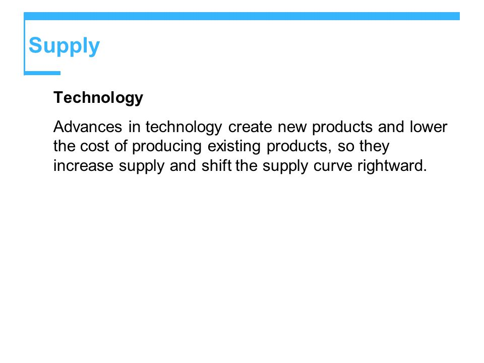 Supply Technology Advances in technology create new products and lower the cost of producing existing products, so they increase supply and shift the supply curve rightward.