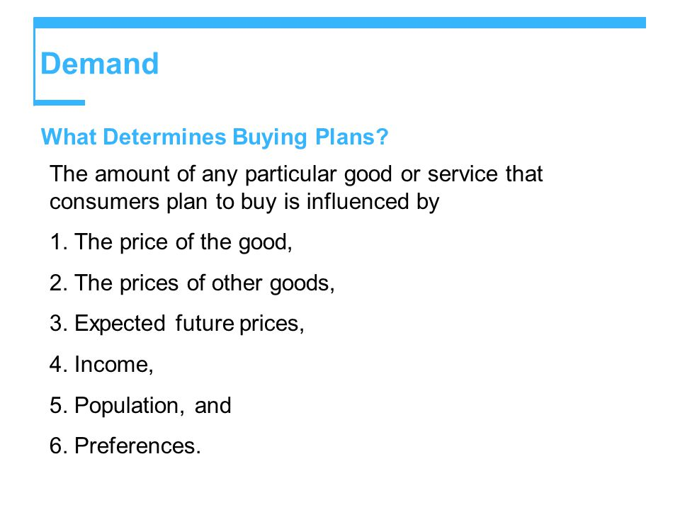 Demand What Determines Buying Plans.