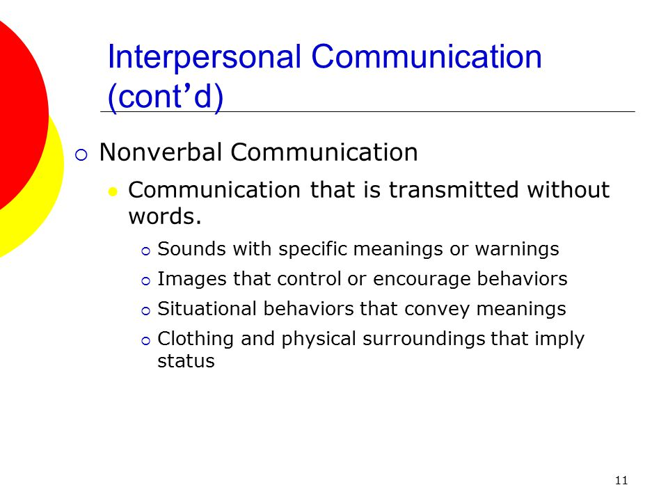 11  Nonverbal Communication Communication that is transmitted without words.