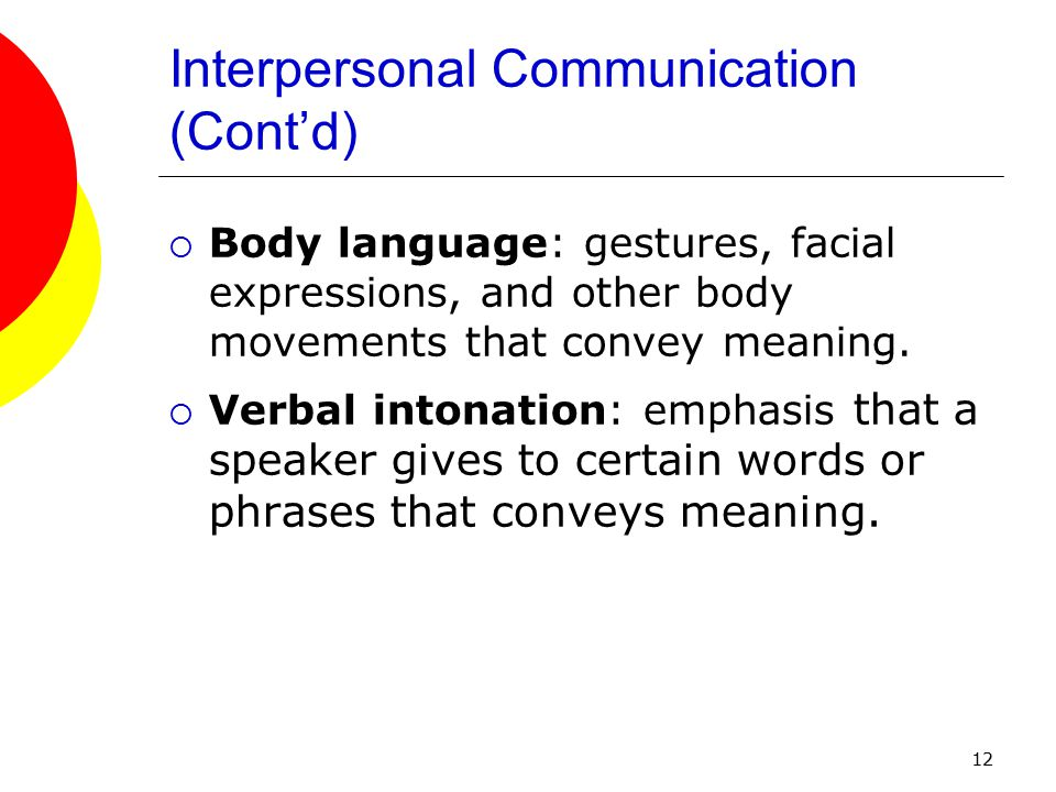12 Interpersonal Communication (Cont'd)  Body language: gestures, facial expressions, and other body movements that convey meaning.