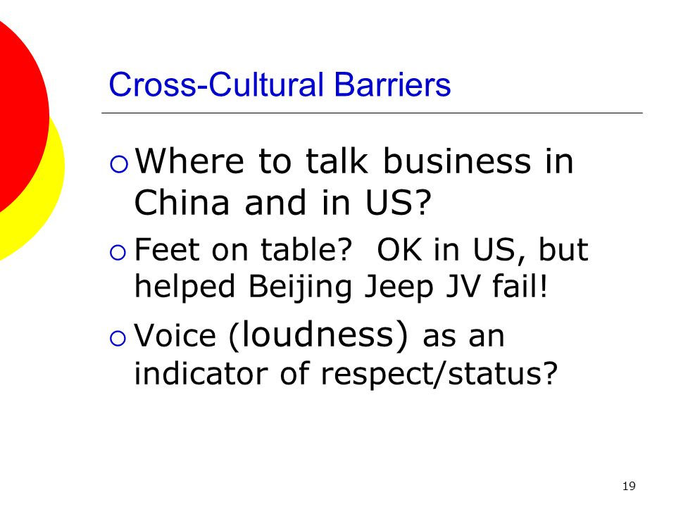 19 Cross-Cultural Barriers  Where to talk business in China and in US.