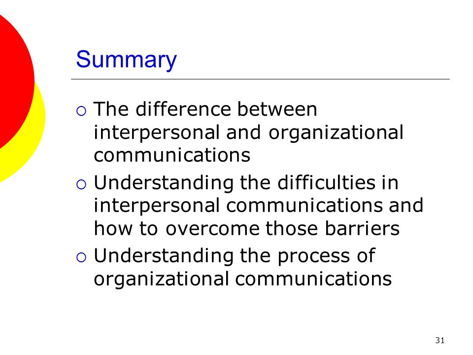 31 Summary  The difference between interpersonal and organizational communications  Understanding the difficulties in interpersonal communications and how to overcome those barriers  Understanding the process of organizational communications