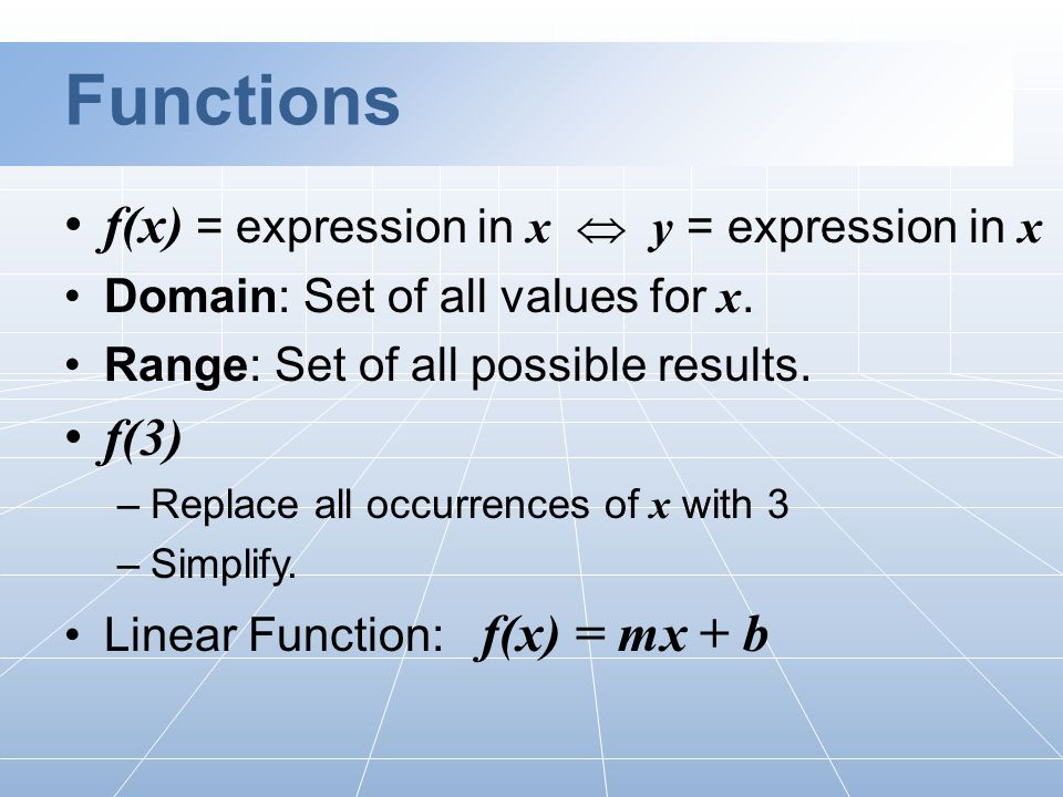 Functions f(x) = expression in x  y = expression in x Domain: Set of all values for x.