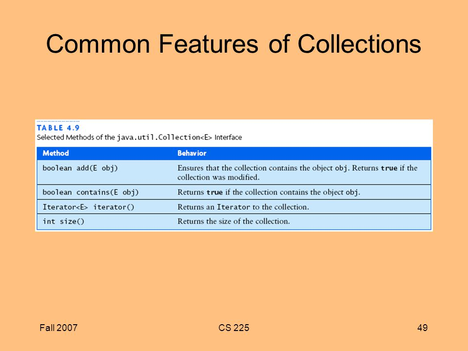 Fall 2007CS Common Features of Collections