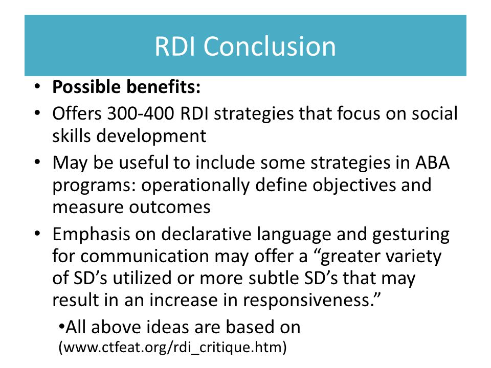 RDI A Review of Relationship Development Intervention by