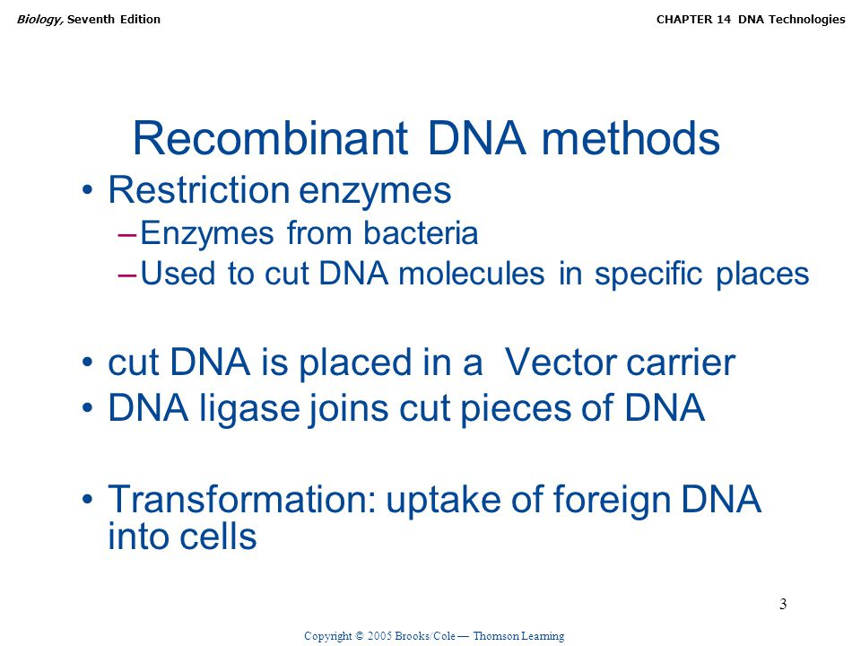 Copyright © 2005 Brooks/Cole — Thomson Learning Biology, Seventh EditionCHAPTER 14 DNA Technologies 3 Recombinant DNA methods Restriction enzymes –Enzymes from bacteria –Used to cut DNA molecules in specific places cut DNA is placed in a Vector carrier DNA ligase joins cut pieces of DNA Transformation: uptake of foreign DNA into cells