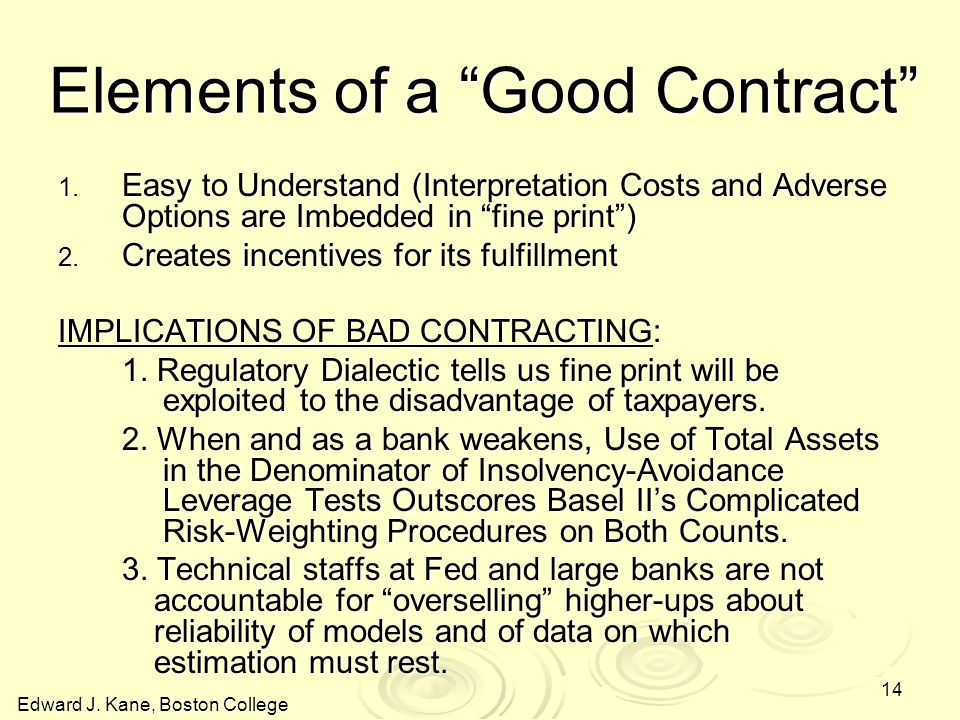 Edward J. Kane, Boston College 14 Elements of a Good Contract 1.