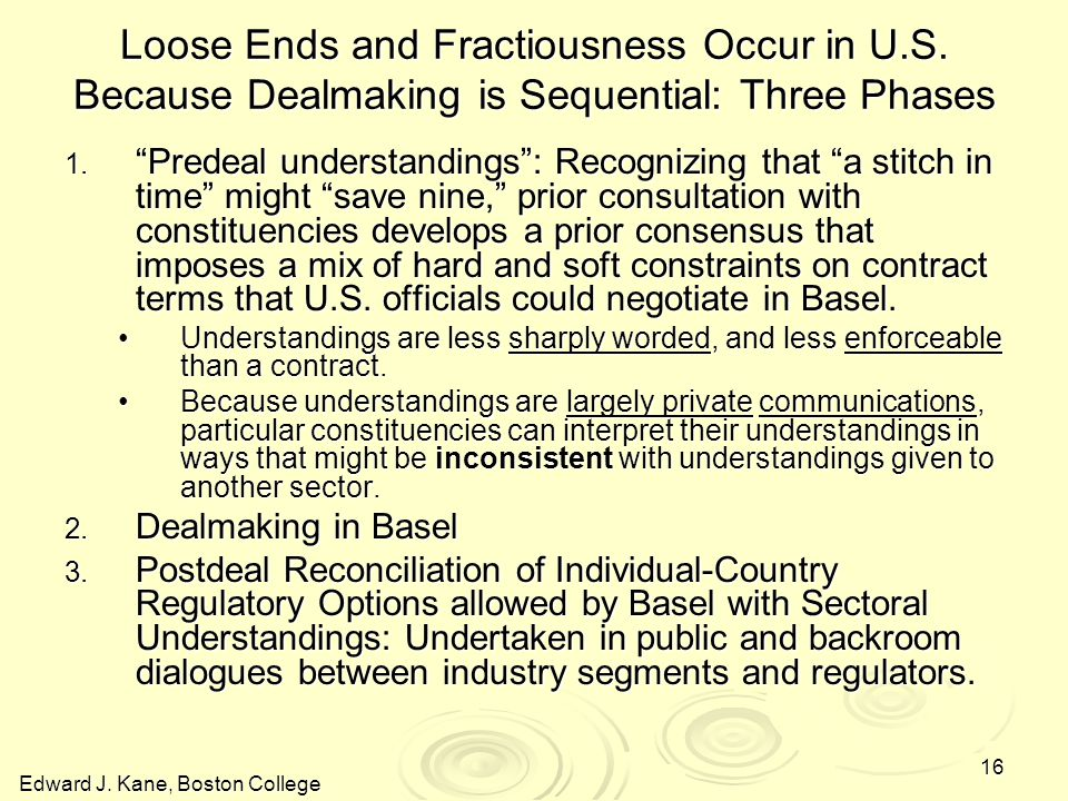 Edward J. Kane, Boston College 16 Loose Ends and Fractiousness Occur in U.S.