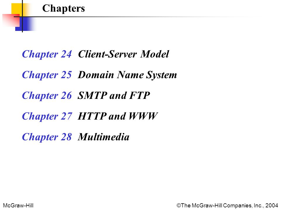 McGraw-Hill©The McGraw-Hill Companies, Inc., 2004 Chapters Chapter 24 Client-Server Model Chapter 25 Domain Name System Chapter 26 SMTP and FTP Chapter 27 HTTP and WWW Chapter 28 Multimedia