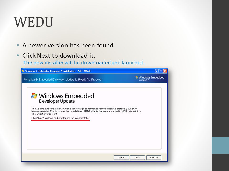 Updating an installation with Windows® Embedded Developer
