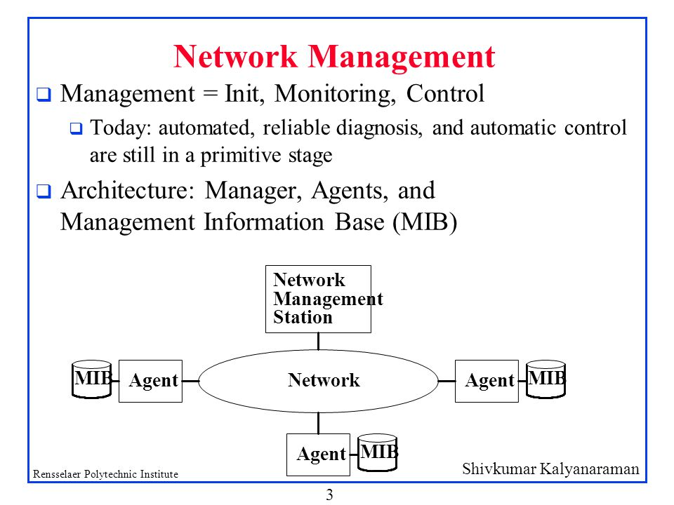 Shivkumar Kalyanaraman Rensselaer Polytechnic Institute 3 Network Management q Management = Init, Monitoring, Control q Today: automated, reliable diagnosis, and automatic control are still in a primitive stage q Architecture: Manager, Agents, and Management Information Base (MIB)