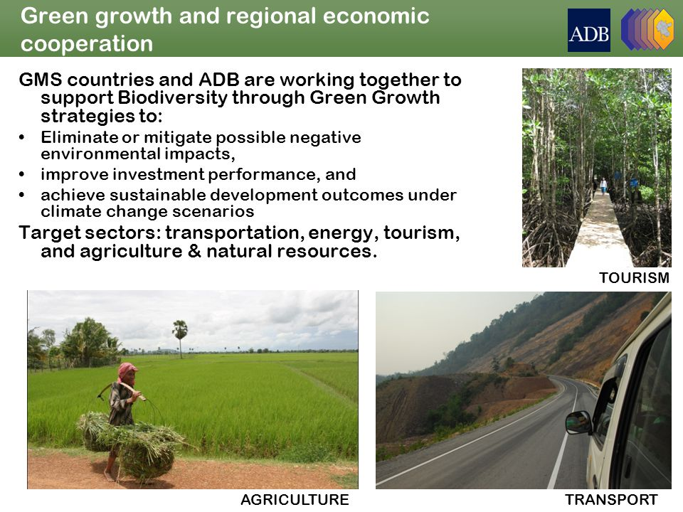 Green growth and regional economic cooperation GMS countries and ADB are working together to support Biodiversity through Green Growth strategies to: Eliminate or mitigate possible negative environmental impacts, improve investment performance, and achieve sustainable development outcomes under climate change scenarios Target sectors: transportation, energy, tourism, and agriculture & natural resources.