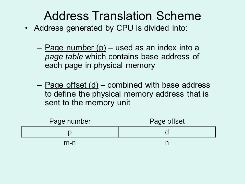 Address Translation Scheme Address generated by CPU is divided into: –Page number (p) – used as an index into a page table which contains base address of each page in physical memory –Page offset (d) – combined with base address to define the physical memory address that is sent to the memory unit Page numberPage offset pd m-nn