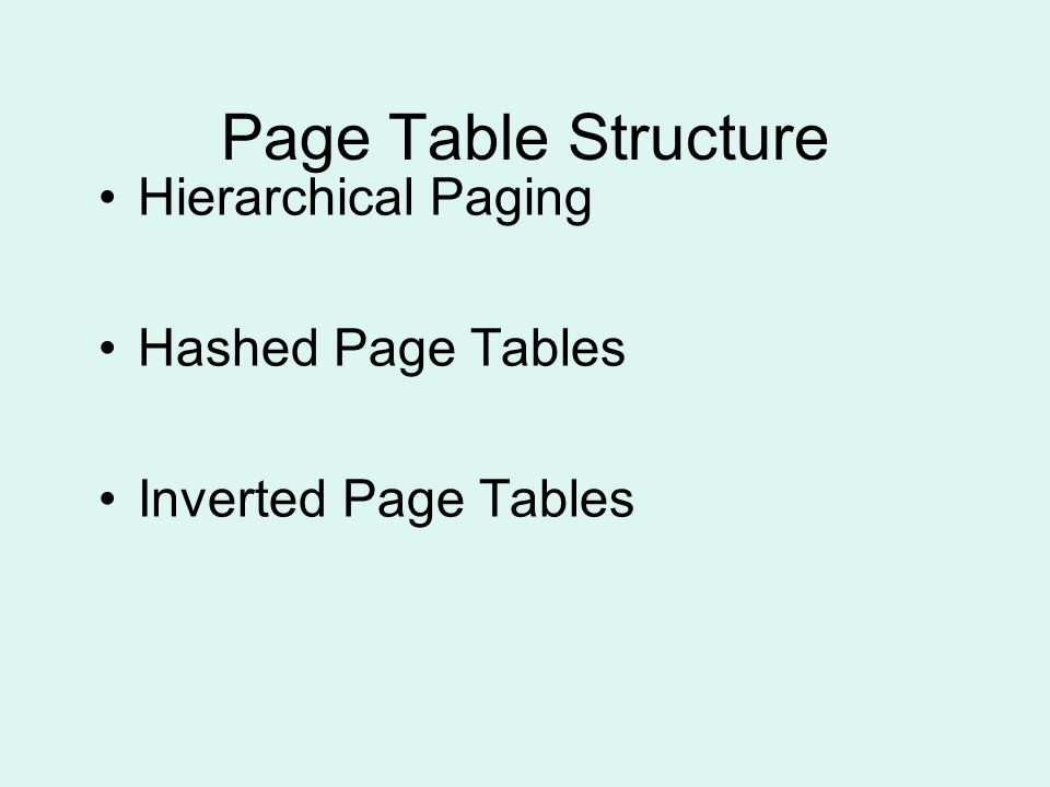 Page Table Structure Hierarchical Paging Hashed Page Tables Inverted Page Tables