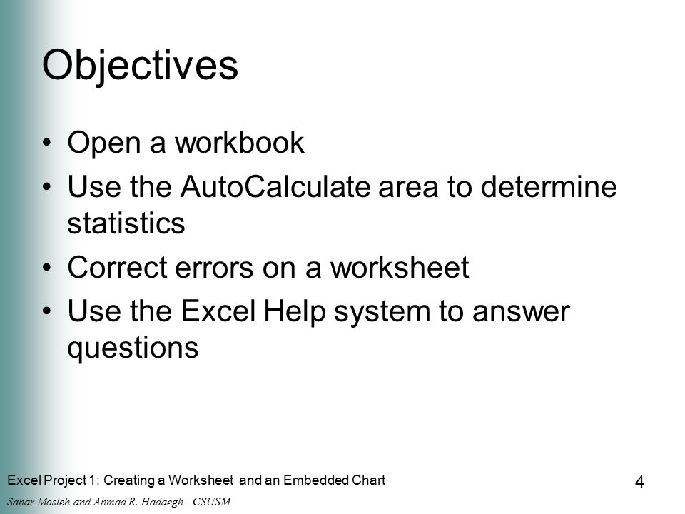 Excel Project 1: Creating a Worksheet and an Embedded Chart Sahar Mosleh and Ahmad R.