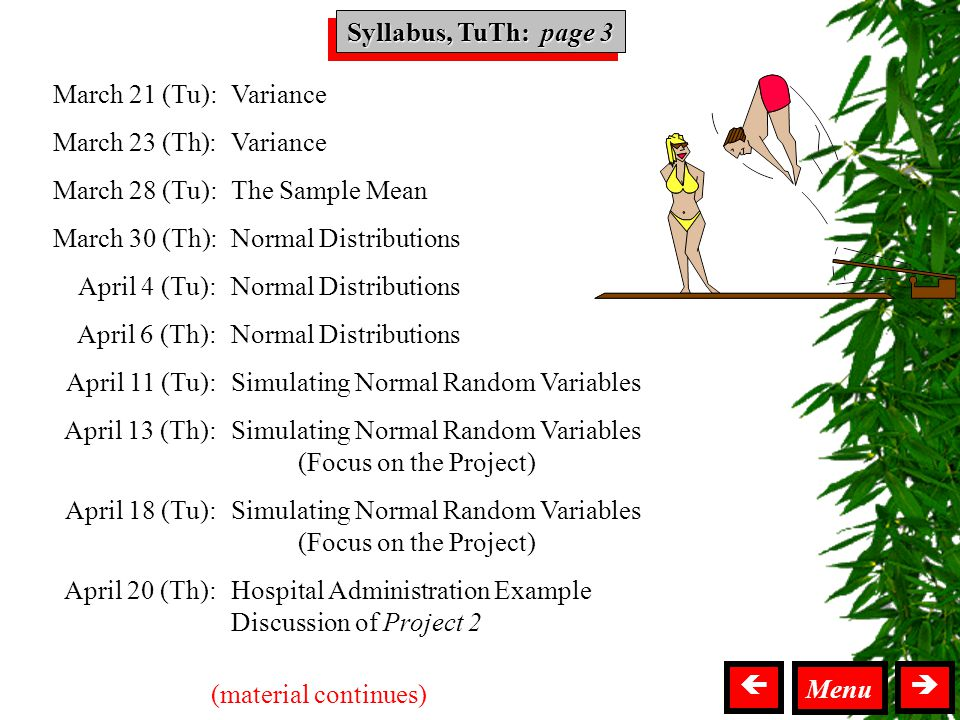 Syllabus TuTh  Variance The Sample Mean Normal Distributions Simulating Normal Random Variables (Focus on the Project) Simulating Normal Random Variables (Focus on the Project) Hospital Administration Example Discussion of Project 2 March 21 (Tu): March 23 (Th): March 28 (Tu): March 30 (Th): April 4 (Tu): April 6 (Th): April 11 (Tu): April 13 (Th): April 18 (Tu): April 20 (Th): (material continues) Menu  Syllabus, TuTh: page 3