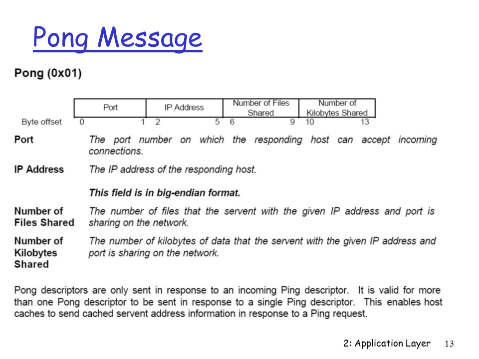 2: Application Layer13 Pong Message