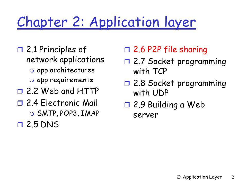 2: Application Layer2 Chapter 2: Application layer r 2.1 Principles of network applications m app architectures m app requirements r 2.2 Web and HTTP r 2.4 Electronic Mail m SMTP, POP3, IMAP r 2.5 DNS r 2.6 P2P file sharing r 2.7 Socket programming with TCP r 2.8 Socket programming with UDP r 2.9 Building a Web server