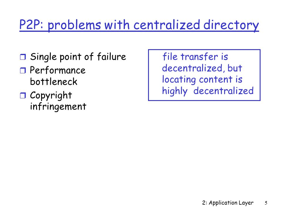 2: Application Layer5 P2P: problems with centralized directory r Single point of failure r Performance bottleneck r Copyright infringement file transfer is decentralized, but locating content is highly decentralized