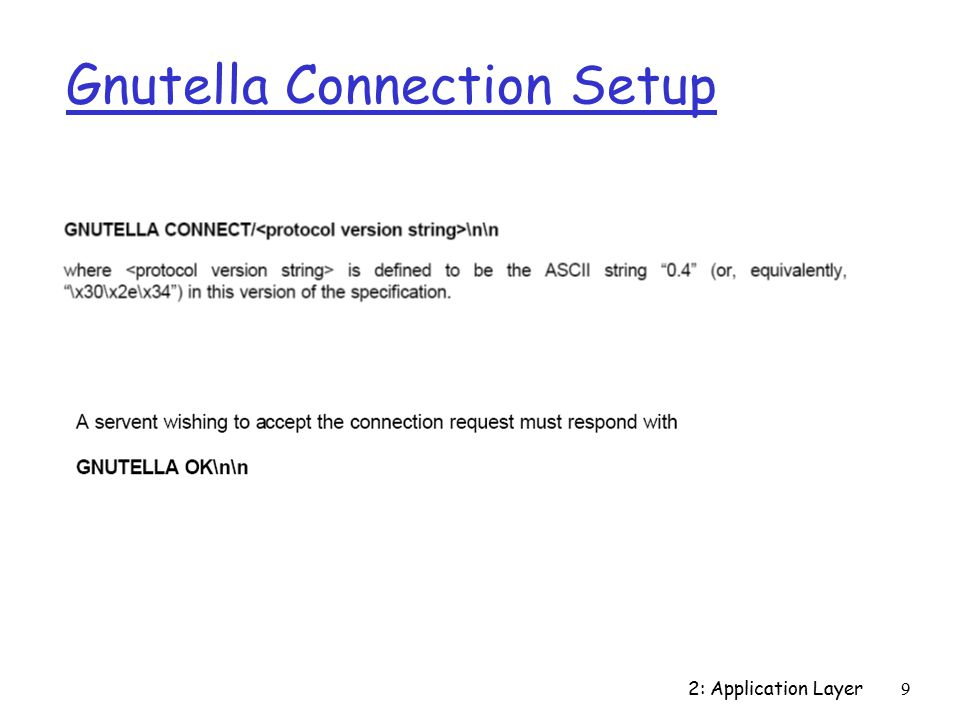 2: Application Layer9 Gnutella Connection Setup