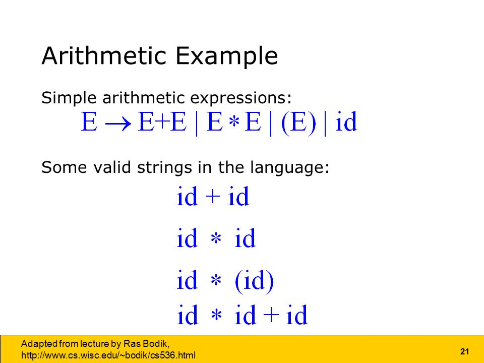 21 Adapted from lecture by Ras Bodik,   Arithmetic Example Simple arithmetic expressions: Some valid strings in the language: