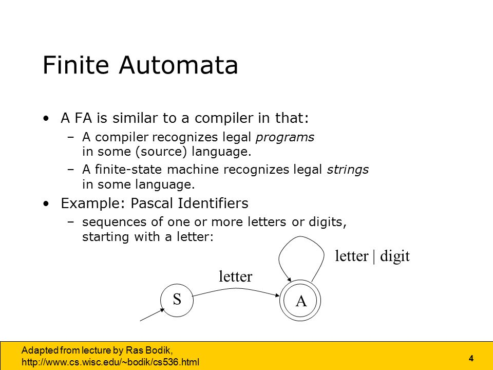 4 Adapted from lecture by Ras Bodik,   Finite Automata A FA is similar to a compiler in that: –A compiler recognizes legal programs in some (source) language.
