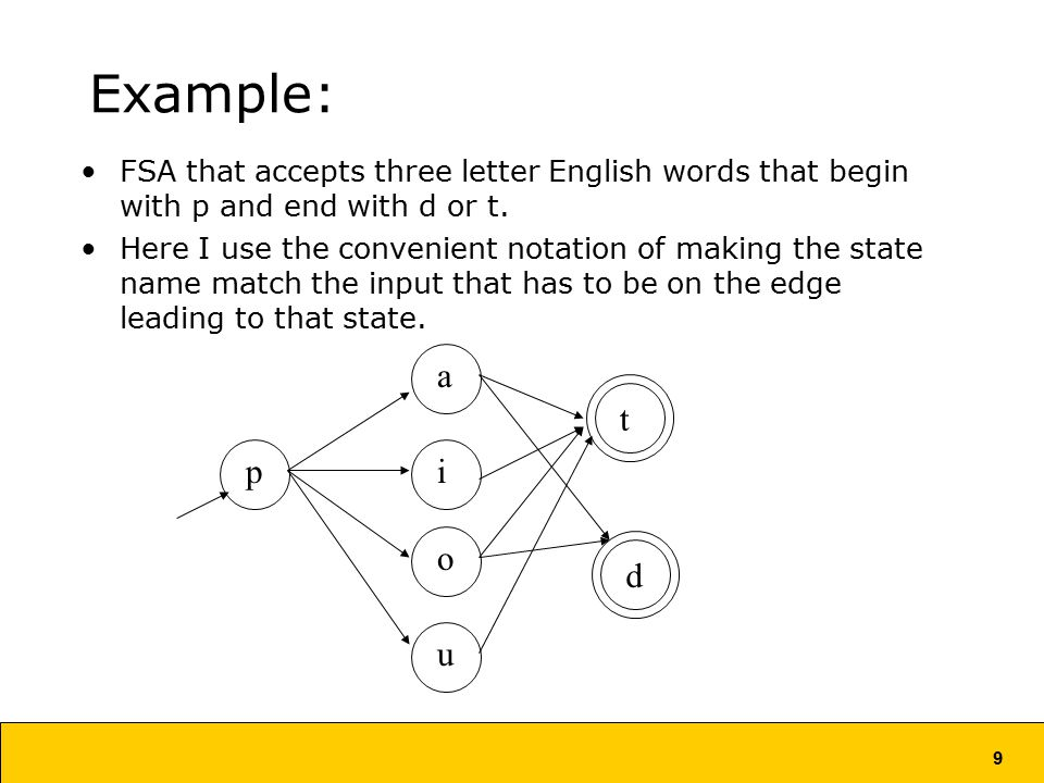 9 Example: FSA that accepts three letter English words that begin with p and end with d or t.