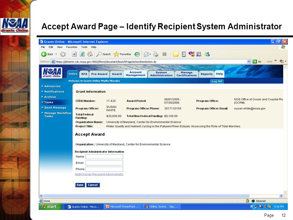 Page 12 Accept Award Page – Identify Recipient System Administrator