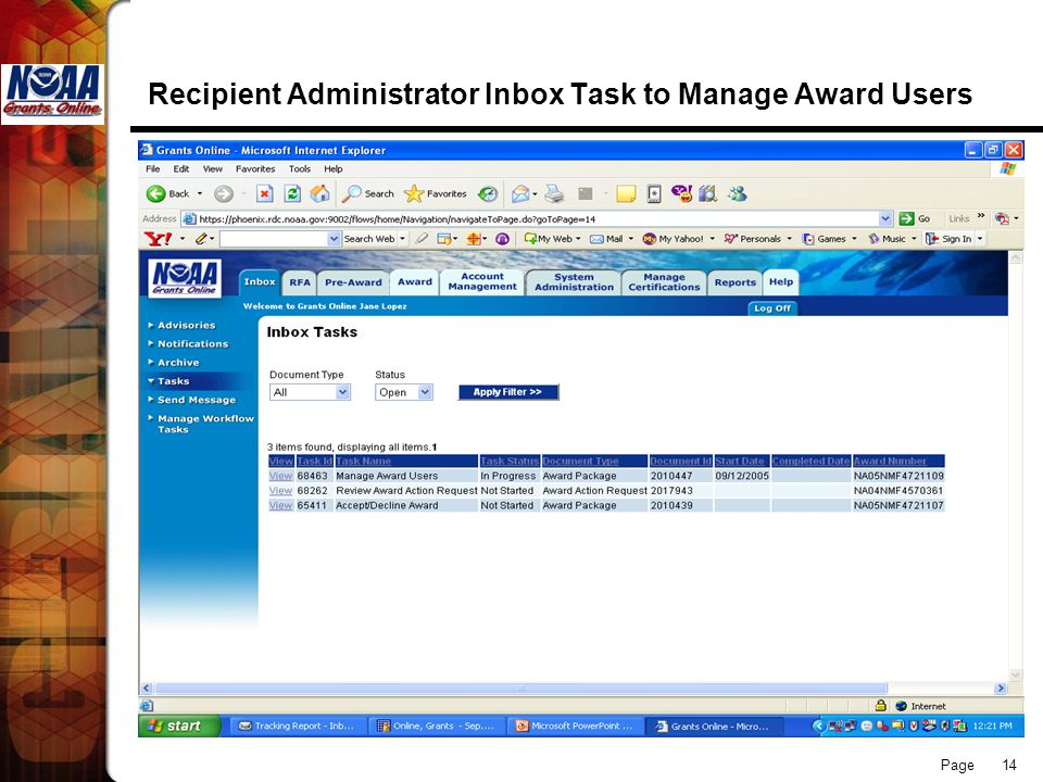 Page 14 Recipient Administrator Inbox Task to Manage Award Users