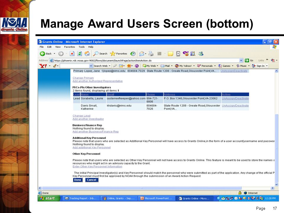 Page 17 Manage Award Users Screen (bottom)