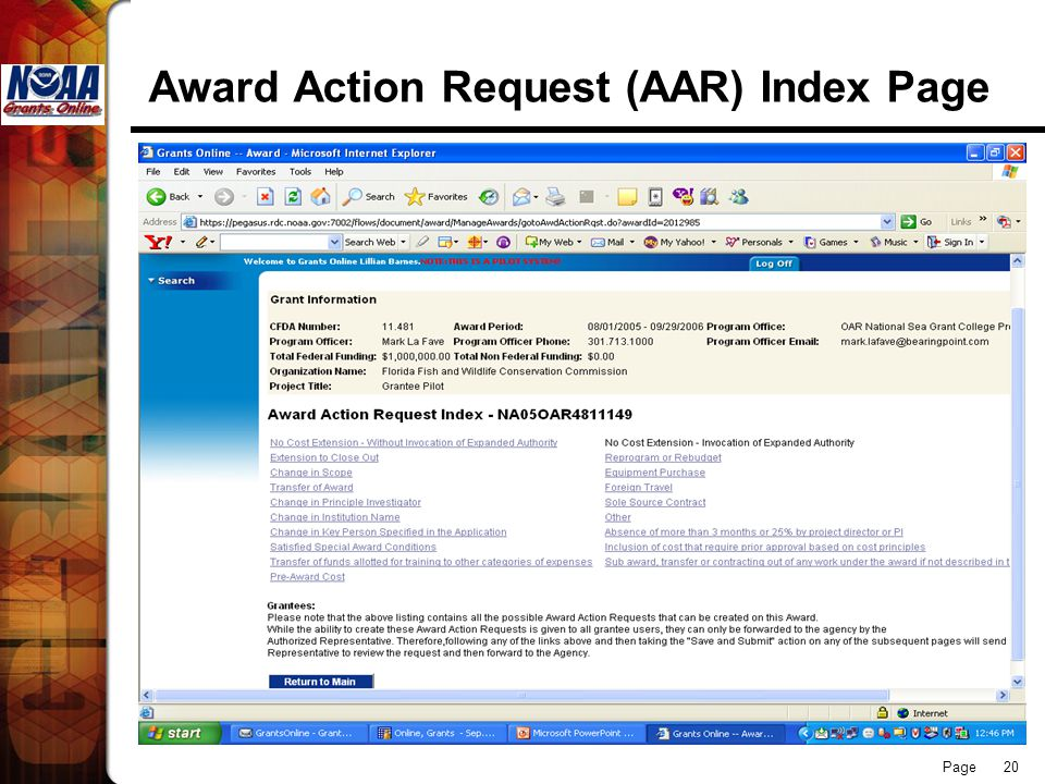 Page 20 Award Action Request (AAR) Index Page