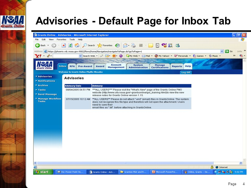 Page 4 Advisories - Default Page for Inbox Tab
