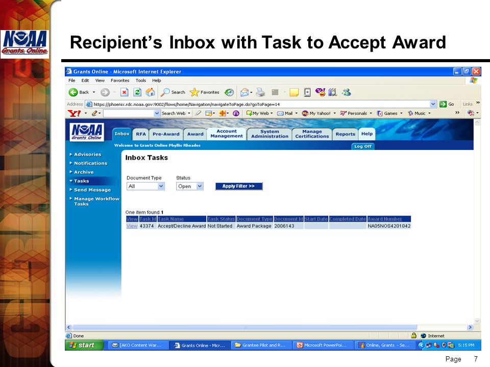 Page 7 Recipient's Inbox with Task to Accept Award
