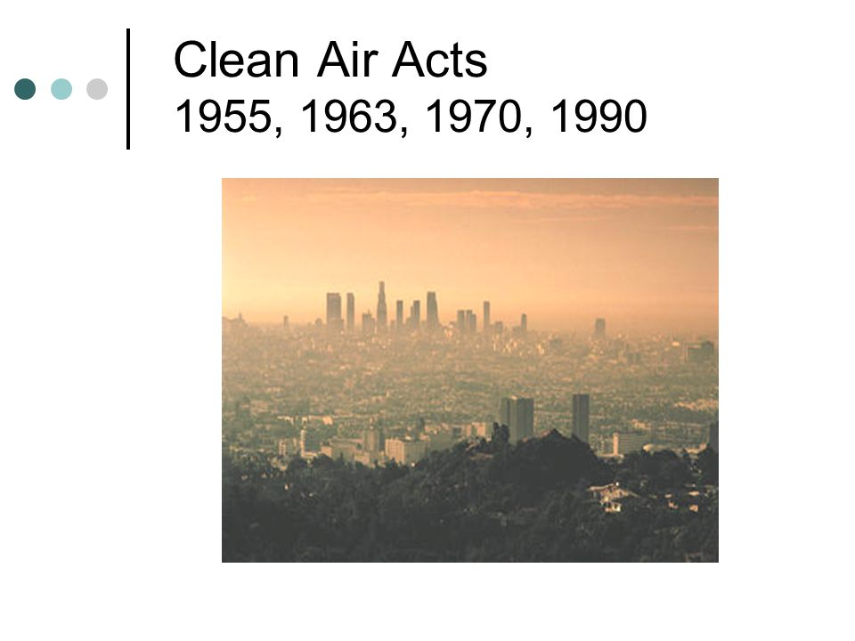Clean Air Acts 1955, 1963, 1970, 1990