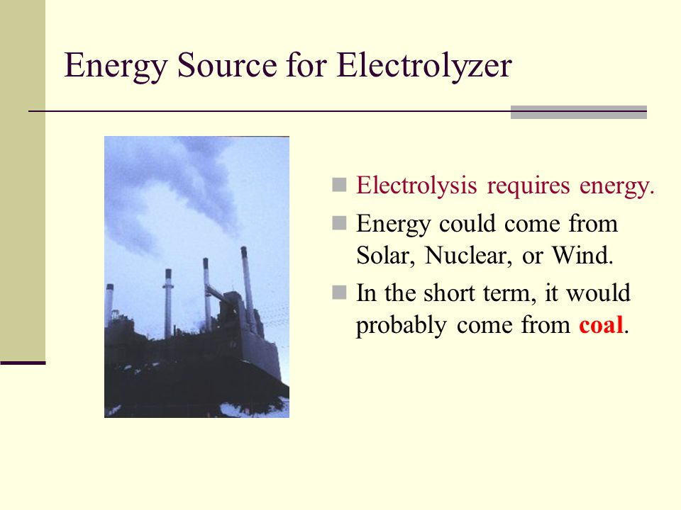Energy Source for Electrolyzer Electrolysis requires energy.