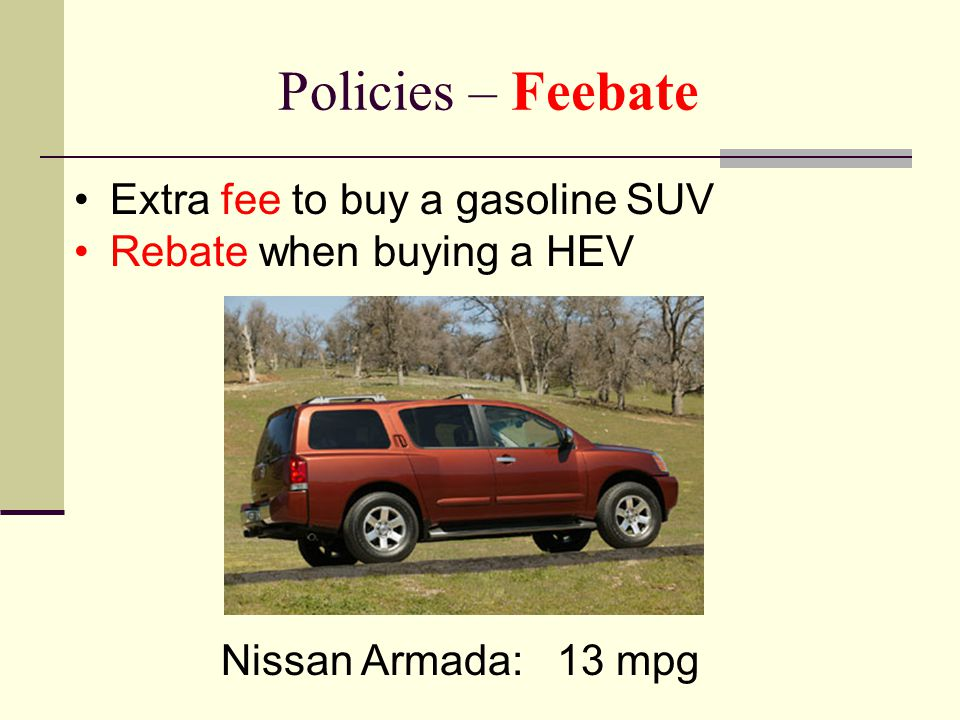 Policies – Feebate Extra fee to buy a gasoline SUV Rebate when buying a HEV Nissan Armada: 13 mpg