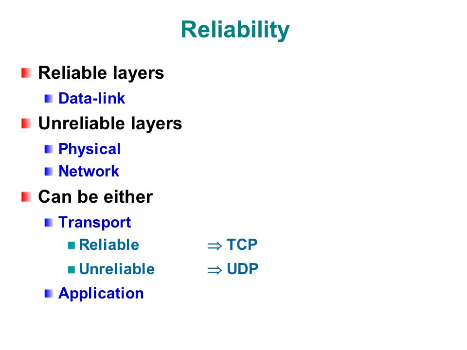Reliability Reliable layers Data-link Unreliable layers Physical Network Can be either Transport Reliable  TCP Unreliable  UDP Application