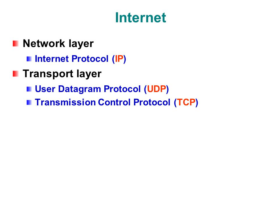 Internet Network layer Internet Protocol (IP) Transport layer User Datagram Protocol (UDP) Transmission Control Protocol (TCP)