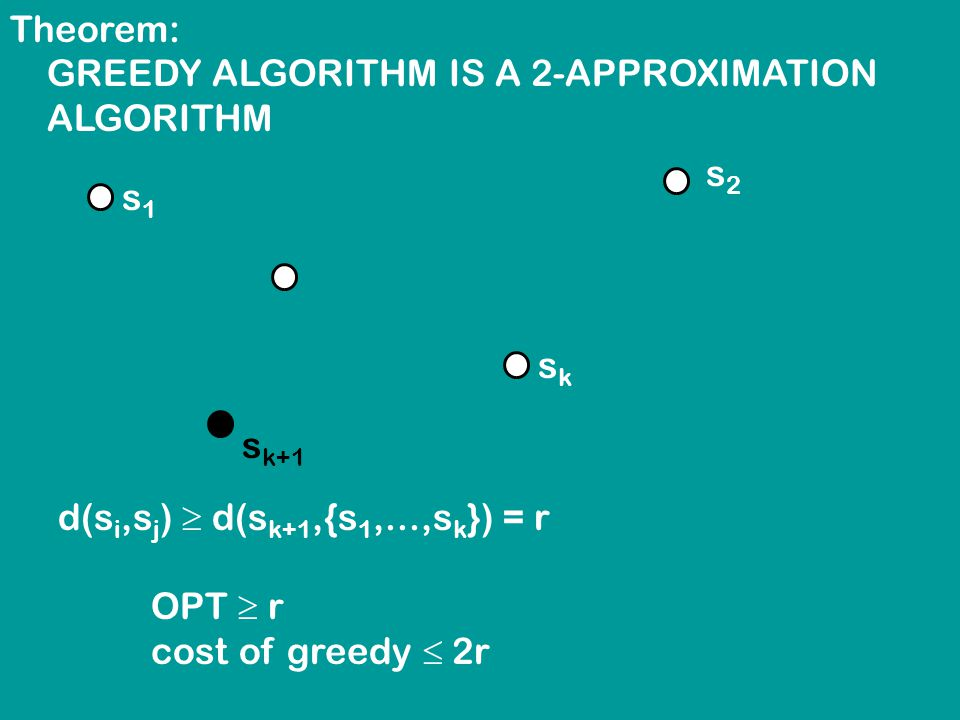 Theorem: GREEDY ALGORITHM IS A 2-APPROXIMATION ALGORITHM s1s1 s2s2 sksk s k+1 d(s i,s j )  d(s k+1,{s 1,...,s k }) = r OPT  r cost of greedy  2r