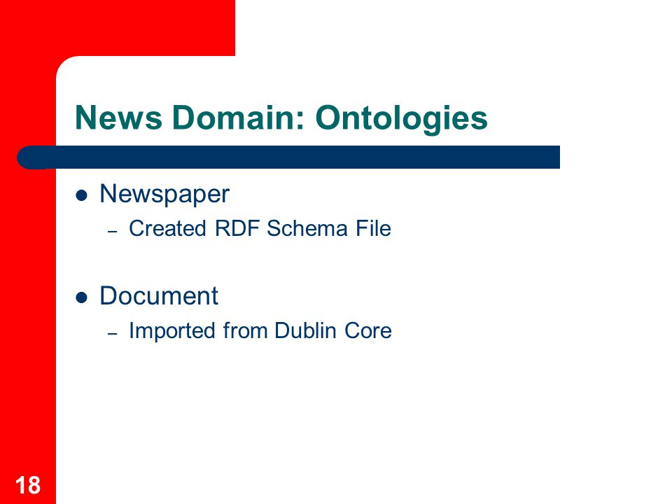 18 News Domain: Ontologies Newspaper – Created RDF Schema File Document – Imported from Dublin Core