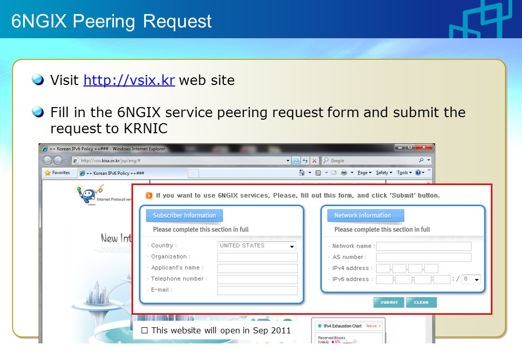 6NGIX Peering Request Visit   web sitehttp://vsix.kr Fill in the 6NGIX service peering request form and submit the request to KRNIC ※ This website will open in Sep 2011