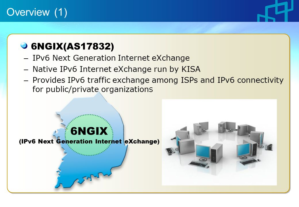 Overview (1) 6NGIX(AS17832) – IPv6 Next Generation Internet eXchange – Native IPv6 Internet eXchange run by KISA – Provides IPv6 traffic exchange among ISPs and IPv6 connectivity for public/private organization S 6NGIX (IPv6 Next Generation Internet eXchange)