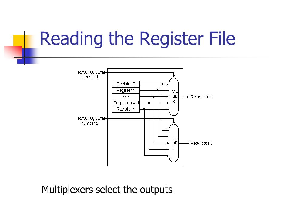 Reading the Register File Multiplexers select the outputs